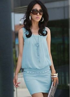 Woman Above Knee Sleeveless Light Blue Package Hip Dress with cheap wholesale price, buy Woman Above Knee Sleeveless Light Blue Package Hip Dress at rotita.com !