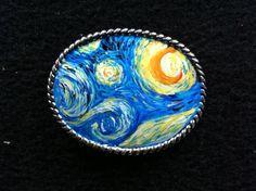 Belt Buckle  Hand painted Van Gogh Starry Night by glasschris.