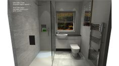 Option 1 - with fitted furniture 200mm deep and 200mm bulk head behind shower with insert.