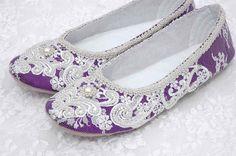Rachel Wedding Shoes, Purple Bridal Ballet Flat, Vintage Lace, Swarovski Crystals, Pearls, Custom Made Women's Wedding Flats, by pink2blue