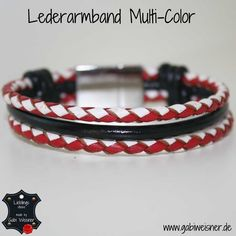 Lederarmband Rot-Weiß-Schwarz