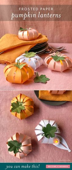 These DIY paper pumpkin lanterns make such pretty home decor for fall. Decorate your mantel or use them as table decor for Halloween or Thanksgiving.