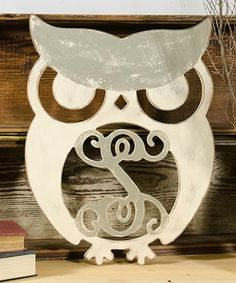 This Unfinished Owl Initial Wall Art by Unfinished Wood Co. is perfect! #zulilyfinds