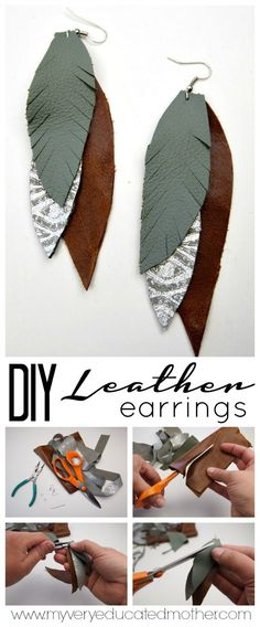 Save money and make your own Feathered Leather Earrings! Save money and ba . - Save money and make your own Feathered Leather Earrings! Save money and make your own feathered lea - Diy Leather Feather Earrings, Diy Earrings, Silver Earrings, Silver Jewelry, Druzy Jewelry, Amber Jewelry, How To Make Earrings, Round Earrings, Turquoise Earrings