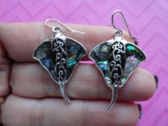 Stingray manta abalone shell earrings