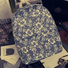 Printting Flowers Women Backpack High Quality Canvas School Bags for Teenager Casual Travel Bag Fashion korean Backpacks  #Happy4Sales #fashion #YLEY #kids #shoulderbags #backpack #bagshop #L09582 #highschool #bag