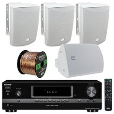 Introducing Sony STRDH130 2Channel  130Watt  AMFM Radio  RCA  Black HiFi Stereo Receiver Bundle Combo With 4x Dual LU53PW IndoorOutdoor 125W 3Way 514 White Box Speakers  Enrock 50Ft 16g Speaker Wire. Great product and follow us for more updates!