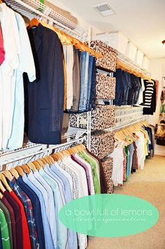 How to organize the master closet. DREAM closet. I think my bedroom is smaller than this closet.
