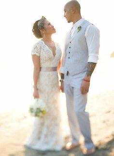 Mermaid V Neck Short Cap Sleeve Beach Wedding Dress White Ivory Lace Bridal Gown