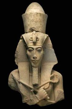 "Akhenaten, Egypt's ""heretic"" Pharaoh. He began a new monotheistic religion centered around the Aten, a non-anthropomorphic sun god. He also moved the capitol to Amarna, ushering in a period of unusual innovation in Egyptian art and culture. After Akhenaten died, the religion collapsed, Amarna was abandoned, and the old Egyptian priesthood regained power. Subsequent archival records call Akhenaten ""the enemy."""