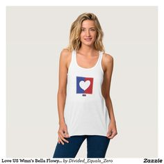 Heart, Love America, Patriotic, Political, Red White and Blue, Women's Bella Flowy Racerback Tank Top