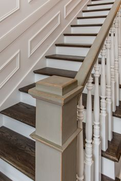 grey painted newel post and railing