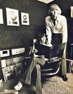 Karen Carpenter holding Ballad of Todd Rundgren LP.