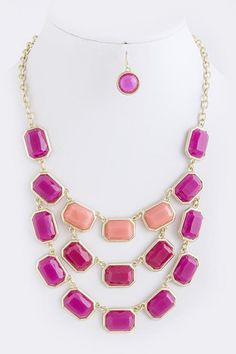 3-tier fuchsia necklace - the factory boutique
