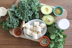 Green smoothie ingredients:  kale, spinach, avacod, banana, honey, coconut milk, chia seeds