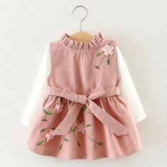 """HOT PRICES FROM ALI - Buy """"Girls dress Kids clothes Baby girl dresses Cute embroidery dress-set Girl Autumn tshirt+sundress Roupas infantis menina"""" from category """"Mother & Kids"""" for only USD. Little Girl Dresses, Girls Dresses, Flower Girl Dresses, Princess Dresses, Baby Dresses, Peasant Dresses, Princess Girl, Dress Girl, Flower Girls"""