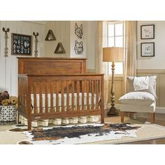 As a crib, the mattress can be adjusted to 3 different heights as your baby grows. Let the Fisher Price Quinn 4 in 1 Convertible Crib complete the look of your nursery. Coordinates with the Fisher Price Double Dresser, Hutch, and Nightstand. Fisher Price, Rustic Baby Cribs, Rustic Crib, Rustic Baby Nurseries, Boy Nurseries, Rustic Rugs, Rustic Wood, Wood Crib, Full Size Headboard