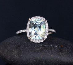 14k White Gold 10x8mm Aquamarine Cushion and by Twoperidotbirds, $1150.00