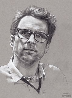 Lydia Butz The lovely Dr. Newton Geiszler drawn with mechanical B pencils and a white charcoal pencil on grey paper. I love this little shouty science man. Get it as a print! Foto Portrait, Pencil Portrait, Portrait Art, Portrait Sketches, Art Sketches, Art Drawings, Pencil Drawings, Amazing Drawings, Beautiful Drawings