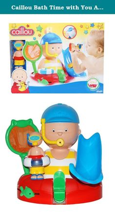 Caillou Bath Time with You Activity Set. Turn bath time into play time with Caillou. Send the Caillou figure down the slippery slide into the tub. Scoop and pour water in Caillou's head and watch the water wheel turn. Use the larger Caillou's hat to scoop up water and pour it in his head. Turn the swim ring and move the green fish back and forth to hear a sound Use the net to fish the smaller Caillou figure from the water Attach the playset to the wall with suction cups for easy drying…