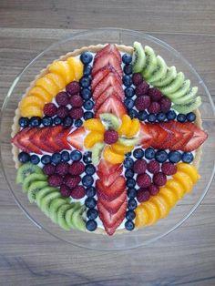 Fruit pizza arrangement for Easter brunch - no recipe included.