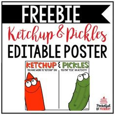 "This EDITABLE ketchup and pickles poster is the perfect way to allow your students to ""ketchup"" on incomplete work while other students ""pick"" an activity to do!This product contains 1 pre-made ketchup and pickles poster and 1 editable ketchup and pickles poster (the poster title is not editable but student names can be edited)- Please note: You will need PowerPoint to open and edit this file -If you need help with this product, please contact me!FIND ME ON THESE SOCIAL MEDIA…"