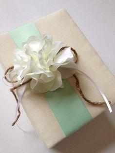 Rustic Baby Photo Album - White Hydrangeas - Mint Green Grosgrain Ribbon