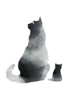 Black cat wall art art print watercolor black & by WhiteDoePrints