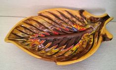Colourful Vintage LEAF DISH Yellow / Orange / Brown Pottery Ceramic Llusar Lable