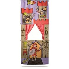 Deurpoppenkast - stoffen Poppenkast met Ridder thema.     Eenvoudig op te hangen in een deuropening, de deurstang wordt meegeleverd.     Maten : 165 X 70 CM - luxe uitvoering van Egmont Toys     Item nummer: 225EG-2 € 49,00