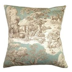 "Cotton pillow with a toile-inspired motif and feather-down fill.Product: PillowConstruction Material: Cotton cover and 95/5 down fillColor: AquaFeatures:  Insert includedHidden zipper closureMade in the  USA Dimensions: 18"" x 18""Cleaning and Care: Spot clean"