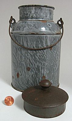 Antique Graniteware Milk Can With Lid Grey Enamelware Cream Can