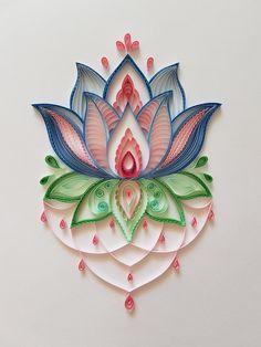 Lotus Flower Mandala, Quilling Wall Art, Comes Unframed Paper Quilling Flowers, Paper Quilling Cards, Quilling Work, Origami And Quilling, Paper Quilling Patterns, Quilled Paper Art, Quilling Paper Craft, Paper Crafts, Quilling Flower Designs