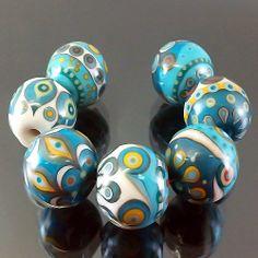 PIKALDA=handmade lampwork 7 glass beads dot line colorful=TURQUOISE BALL=SRA