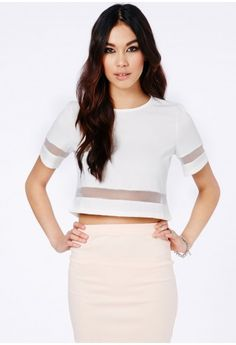 Loida Short Sleeve Mesh Panel Crop Top - Tops - Crop Tops - Missguided