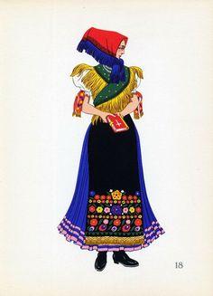 A woman of old Mezokovesd, Hungary.