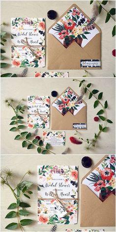 Boho Chic Rustic Printable Wedding Invitation, Calligraphy Wedding Invite, Watercolor Floral Bohemian Invites, Digital Floral Template