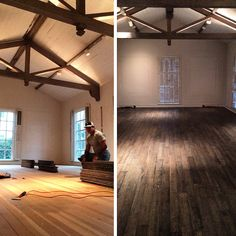 Before and after. The black stained distressed hardwood looks amazing in this 1920's house.