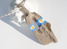 necklace with driftwood pendant - painted by JEVO