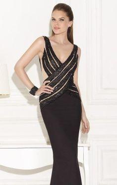 Embellished V Neckline Crepe Gown by Tarik Ediz 92471