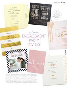 #ClippedOnIssuu from The Knot Winter 2014 engagement party invitations