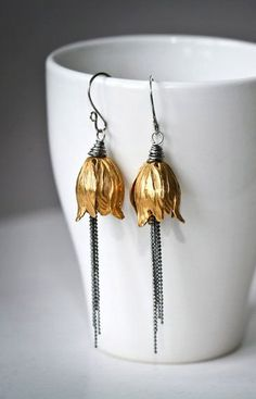 Brass Tulip Tassels Mixed Metal Sterling Silver by Mayahelena