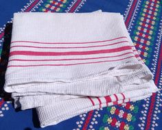 2 Antique White French Dish Cloth 1930's Waffle Cotton with Red Stripes by…