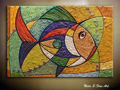 Original Thick Texture Abstract Golden Fish by NataSgallery