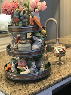 Add Easter themed decor items to a tiered tray for a great Spring decoration. Easter Table Decorations, Table Centerpieces, Easter Centerpiece, Spring Decoration, Decoration Crafts, Diy Crafts, Tiered Stand, Tiered Server, Hoppy Easter