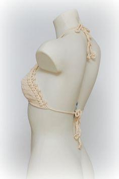 Beige crochet bikini top. Festival halter crop top. by Crochetops