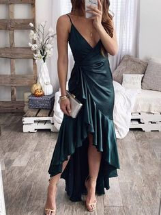 Green Condole Belt Draped Ruffle Irregular Swallowtail Sashes Backless V-neck Sleeveless Fashion Maxi Dress Satin Dresses, Sexy Dresses, Fashion Dresses, Summer Dresses, Wrap Dresses, Midi Dresses, Top Volant, Vestidos Sexy, Satin Slip