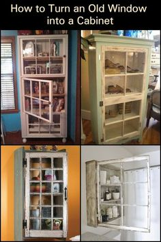 Turn your reclaimed windows into a cabinet! Cut down on your expenses, forget buying new furniture and learn how to make cabinets using old windows.
