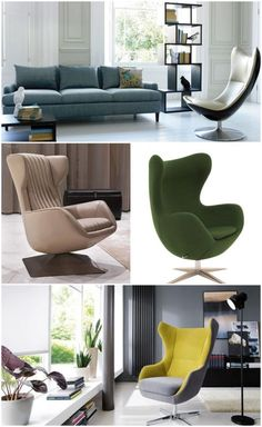 Green and yellow egg chairs #chair #livingroomchairs #furnitureideaslivingroom