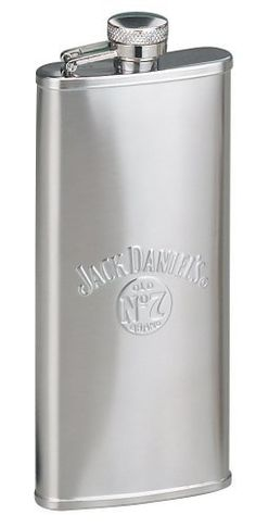 Jack Daniel?s 5 oz. Satin Boot Flask by Jack Daniels Licenced barware. $20.00. 5 ounce capacity. Stainless Steel. Captive top. Official licensed product. Jack Daniel's Stainless Steel Boot Flask.  The embossed Jack Daniel's swing logo and Old No. 7 brand bug logo appear on the front and a twist off stainless steel captive top is permanently attached to the flask for loss prevention.